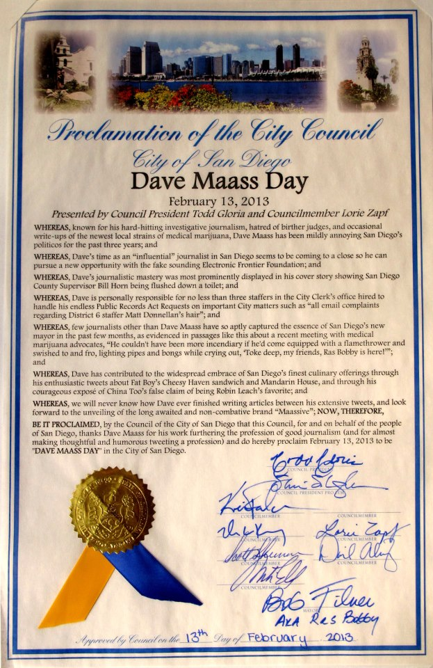 Official Proclamation from the City of San Diego